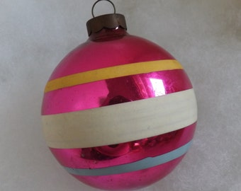 Vintage Christmas ornament pink ornament blue white and yellow striped ornament stripe