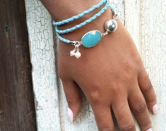 Womens Leather Bracelet with Blue Gemstone / Turquoise Leather Triple Wrap / Turquoise Blue Wrap Bracelet / Angelina
