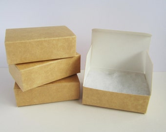 10 rectangle flat packed kraft card gift boxes with hinged lid and wadding - 51x76mm