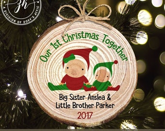 Baby's first Christmas with siblings personalized wood slice ornament - 1st christmas keepsake family ornament MWO-021