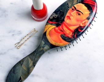 "Frida Kahlo Hair Brush.""Selfportrait with Monkey"" by Frida Kahlo beautifully reproduced on our nylon and boar bristle brush."