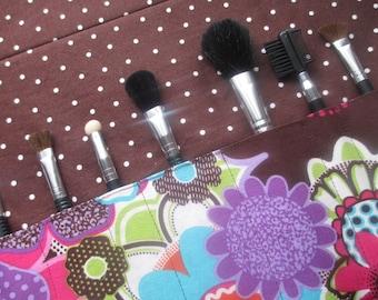 Makeup brush roll,  paintbrush roll.  crochet hook organizer, Makeup brush holder