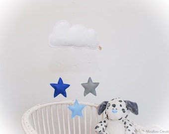 Star Mobile - felt cloud mobile - star mobile - felt star mobile - child's decor - handmade - MADE TO ORDER
