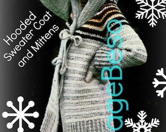 INSTANT DOWNlOAD • PdF Pattern • Coat Crochet Pattern Vintage 1970s HOODED Sweater Crochet Pattern + MITTENS Crochet Pattern Jacket Pattern