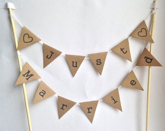 WEDDING Just Married CAKE BUNTING Topper Rustic Vintage Decoration Manila Black