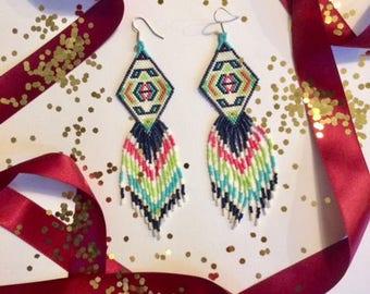 Rachel Colorful native inspired diamond fringe earrings