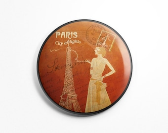 Button Magnet Paris Vintage - Paris Souvenir Eiffel Tower City of Lights Old Postcard Fridge Round Magnet 56mm diameter Kitchen Decoration