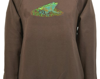 Frog Sweatshirt. Women's brown sweat with detailed embroidered frog design.   IMade in England.  W10 Nature gift for mother, sister, friend
