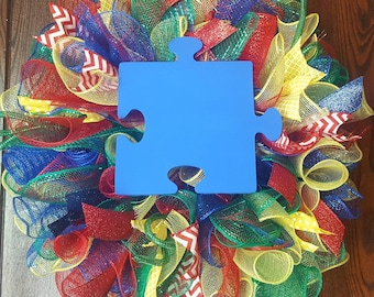 Autism Wreath, Autism Awareness, Autism, Autism Blue, Light it Up Blue, Autism Decor, Autism Awareness Wreath, Teacher's Gift, Teacher Gift