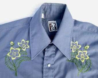 Vintage Mens Western Shirt, Karman, 44 Inch Chest,  Pearl Snaps, Embroidered Yoke