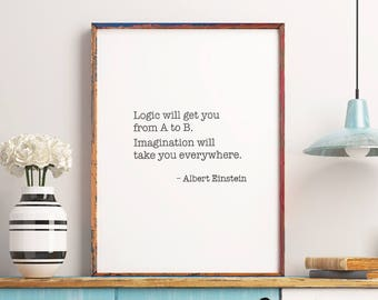Art Digital Print Poster: Albert Einstein Quote, Inspirational Wall Art Home Decor, Motivational Quote Print *Digital Download DIY PRINT*