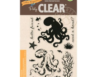 Hero Arts PolyClear Crafting Stamp Sets ~Octopus~ Color Layering Crafting Stamps