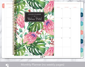 MONTHLY PLANNER | 2018 2019 no weekly view | choose your start month | 12 month calendar monthly tabs | tropical floral