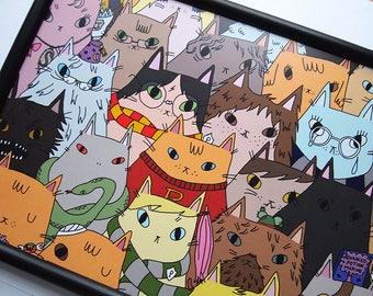 Harry Potter Cats print - Harry Potter, Hogwarts, Harry Potter poster, Harry Potter print, Harry Potter gift, Movie poster, Home decor, art