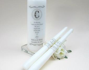 Unity Candle Set - Monogram Unity Candle - Personalised Unity Candle - Wedding Candles - Unity Candle