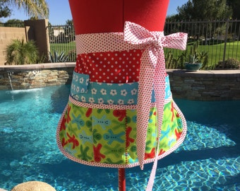 Ready to Ship ~ Sale ~ Gingerbread Men Vendor Aprons, Women Aprons, Half Apron with 6 pockets, Stocking Stuffers, Holiday Apron