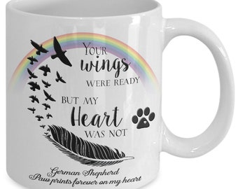"Pet Bereavement Memorial Gifts Your Wings Were Ready But My Heart Was Not ""Your Dog BREED""  Paw prints forever on my heart"