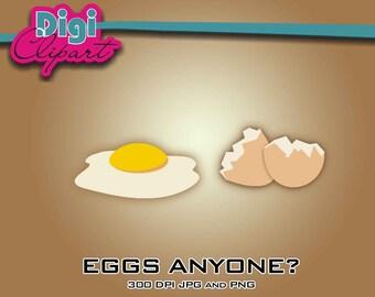 Fried Egg Broken Shell Clip - Art Digital Download
