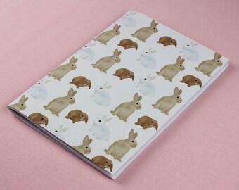 A5 Notebook / Animal journal / Rabbit Sketchbook / Cute animal notebook / Illustrated notebook / Handmade notebook / Cute teen girl gift.