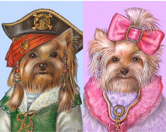 Yorkie Love - 2 Art Prints - the Pirate, Yorkie in Pink - Dog in Clothes - Dogs in Pink Art - Funny Pet Portraits by Maria Pishvanova