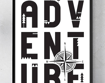 ADVENTURE POSTER / 11x17 Wall Art Print