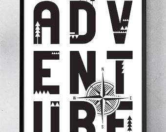 ADVENTURE POSTER / 11x17 Wall Art Print