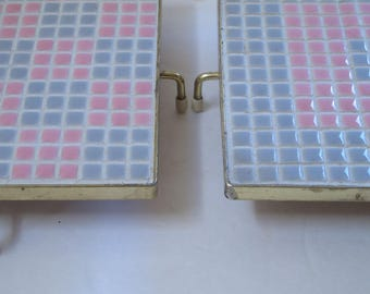 Retro Hot Plate Tile Mosaic Trivet Vintage Mid Century Kitchen Square tile trivets Pink Gray Pastel Hot Plate 60s 70s MCM Hot Plate