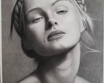 "Charcoal drawing on paper 12""x18"" fashion model"