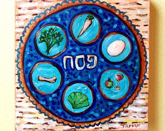 Passover Plate on Matzos, Original Painting on Canvas, Passover Art, Jewish Gift, Judaica Artwork, Acrylic Painting, Pesach Table Symbols