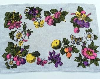 Vintage Kitsch Mini Tea Towel - Neon Fruit and Butterflies on a White Linen Background