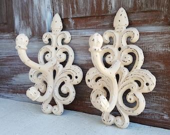 Large Ivory Beige Wall Hooks, Shabby Distressed Coat Hooks, Towel Hooks, Decorative Hooks Entry French Country, Rustic Home Decor, Set of 2