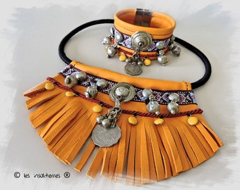 Necklace ethnic Indian yellow ochre leather pieces coin kuchi banjara