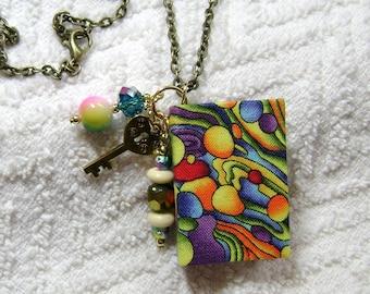 Librarian - Handmade Book Necklace - Book Jewelry - Book Pendant - Book Journal - Handmade Book - Rainbow Fabric - BN-175