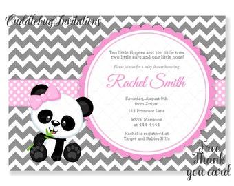 Pink Panda Bear Girl Baby Shower Invitation | Panda Baby Girl Shower Invite | Pink Panda Shower Invitation | Pink Girl Baby Shower