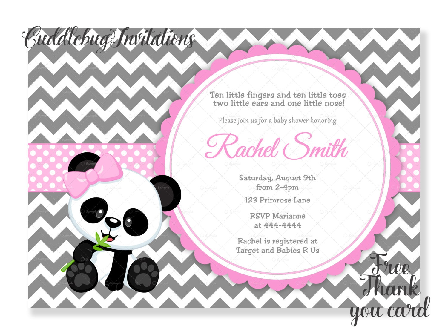 Pink Panda Bear Girl Baby Shower Invitation Panda Baby Girl
