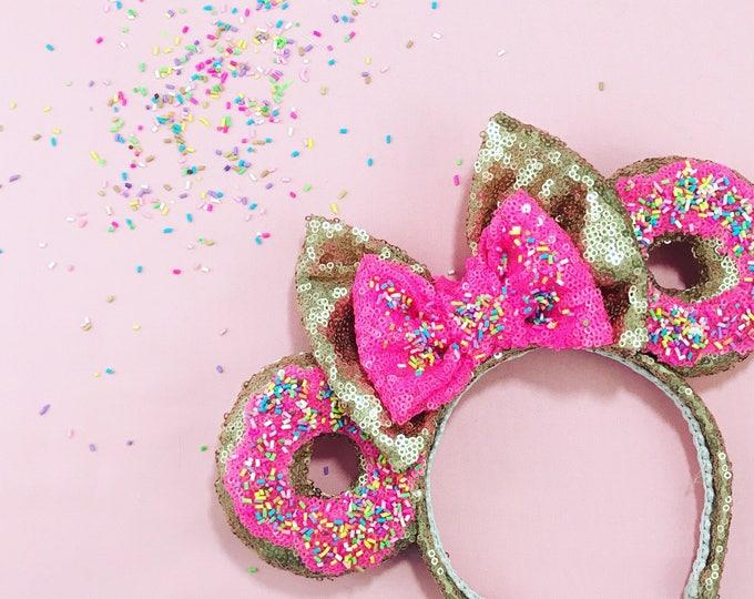 Donut Sprinkles Sequin Minnie ears
