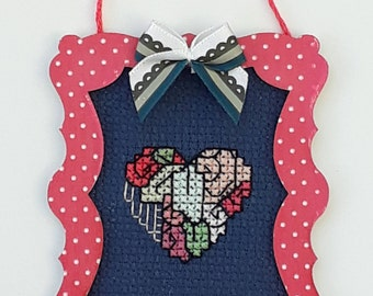 Cross stitch Heart mini picture in a spotty frame with bow detail