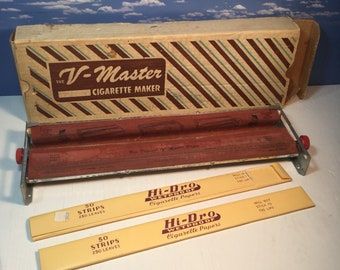 Vintage cigarette roller with original box and 2 packs of super long rolling papers Fun tobacciana collectible retro piece perfect display
