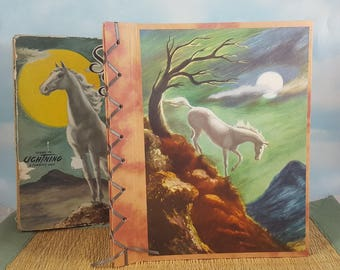 Silver Stallion Sketchbook with Vintage Storybook Horse on Japanese Bound Cover
