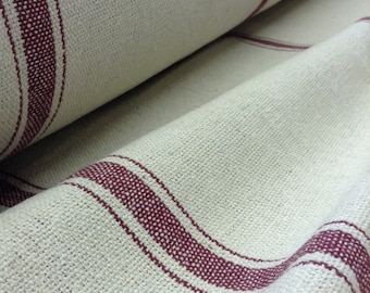 """Grain Sack Fabric - Farmhouse Fabric - Cream - Burgundy 3 Stripe - 54"""" Wide - Upholstery Weight - CONTINUOUS CUT"""