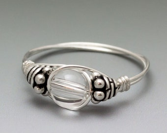 Quartz Crystal Bali Sterling Silver Wire Wrapped Gemstone Bead Ring - Made to Order, Ships Fast!