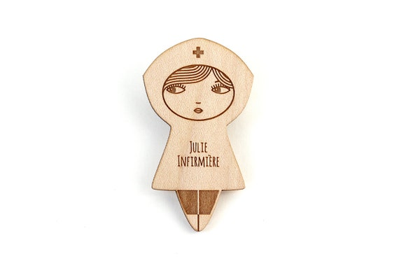 Personalized nurse brooch - doll pin - custom jewelry - name jewellery - hospital - graphic matriochka - lasercut maple wood