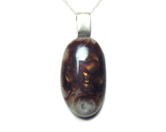 Fire agate pendant and chain