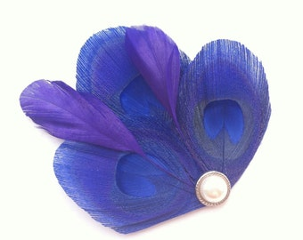 Petite Hair Clip Collection - Royal Blue and Purple Peacock Feather Hair Clips