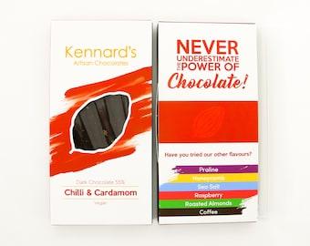 Kennard's Artisan Chocolate, Chilli & Cardamom Dark Chocolate Bar