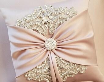 Wedding Ring Pillow, Wedding Cushion with Rhinestone Detail, Ring Bearer Pillow, Rose Gold Satin Sash - The Rose Gold ROSALINA Pillow