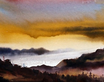 Evening Mountain Landscape -Original Watercolor Painting on Paper