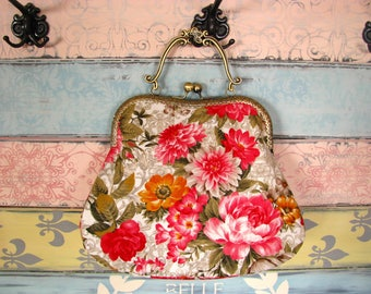 Oriental evening clutch purse with flowers, kiss lock purse, metal frame purse, purse with handle, roses and lilies