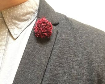 Mens Red Satin Man lapel pin, Lapel pin man, Flower lapel pin, Man lapel flower, Lapel pin, Lapel flower, Wedding, Boutonniere