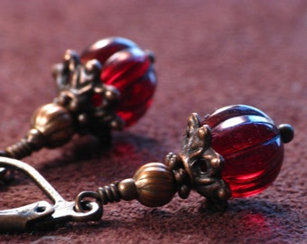 Burgundy Earrings - Deep Red Czech Glass Beads and Antiqued Copper